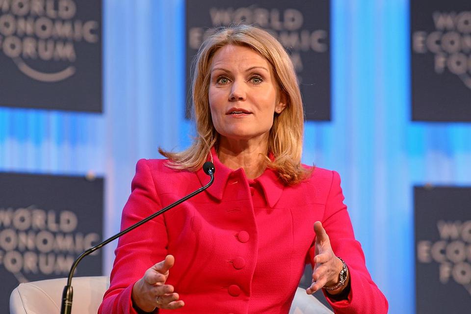 Helle Thorning-Schmidt taler ved World Economic Forum i Davos, Schweiz, i januar 2013.
