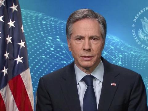 USA's udenrigsminister, Anthony Blinken, i sin videotale onsdag til FN's Menneskeskrettighedsråd.