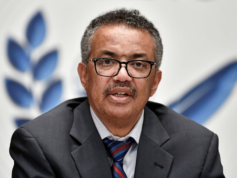 World Health Organization (WHO) Director-General Tedros Adhanom Ghebreyesus attends a news conference organized by Geneva Association of United Nations Correspondents (ACANU) amid the COVID-19 outbreak, caused by the novel coronavirus, at the WHO headquarters in Geneva Switzerland July 3, 2020. (Foto: Pool New/Reuters/Ritzau Scanpix)