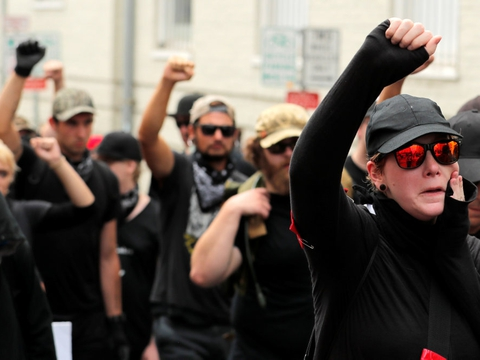 Antifa er dukket frem i løbet af de senere år, delvis i opposition til en række højreorienterede demonstrationer i Charlottesville, Virginia, i 2017. (Arkivfoto)