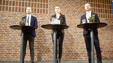 Morten Østergaard, formand for Radikale Venstre, statsminister Mette Frederiksen og Jakob Ellemann-Jensen, formand for Venstre deltager når Radikale Venstre holder nytårsstævne på Hotel Nyborg Strand søndag den 5. januar 2020. (Foto: Tim K. Jensen/Ritzau Scanpix)