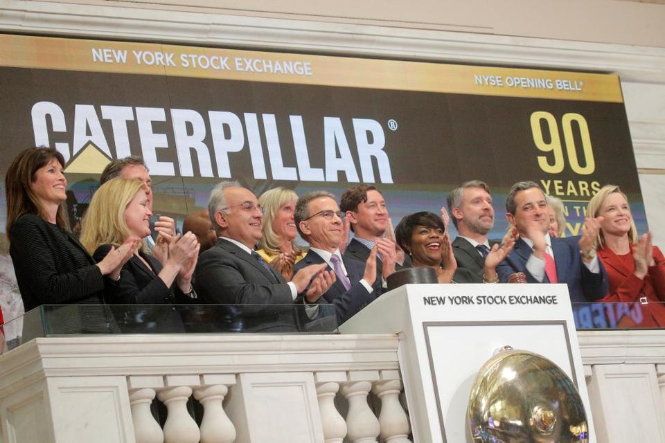 Der klappes på børsen New York i sidste måned til ære for Caterpillar, der er en af USA's større eksportvirksomheder.