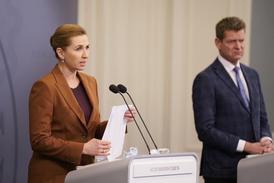 Statsminister Mette Frederiksen, på et pressemøde om covid-situationen i Statsministeriet tirsdag.