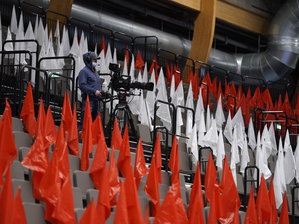 Der kan fortsat ikke tillades tilskuere i håndboldsporten. Det var ellers håbet, at der kunne lukkes tilskuere ind i arenaerne fra 6. maj. (Arkivfoto)