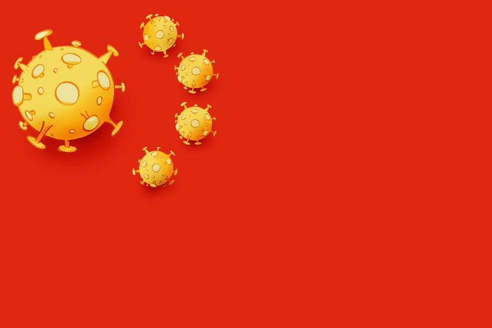 Niels Bo Bojesens illustration af det kinesiske flag og coronavirussen. (Foto: Screenshot/jyllands-posten.dk)