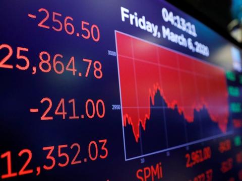 Aktiekurserne på børsen i New York åbnede mandag med et fald så stort, at det udløste en mekanisme, der stoppede al handel i et kvarter.