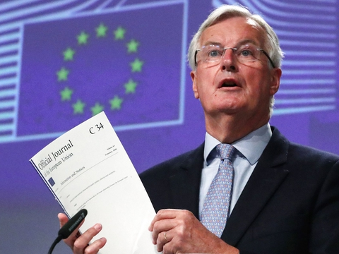 EUs Brexit negotiator Michel Barnier gives a news conference after Brexit negotiations, in Brussels on June 5, 2020. (Foto: Yves Herman/AFP/Ritzau Scanpix)