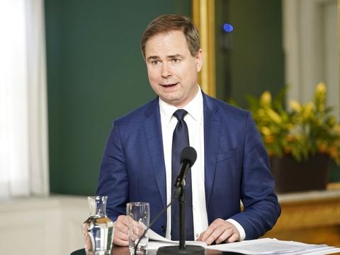Finansminister Nicolai Wammen (S) præsenterer Økonomisk Redegørelse ved et pressemøde i Finansministeriet tirsdag den 26. maj. (Foto: Niels Christian Vilmann/Ritzau Scanpix)