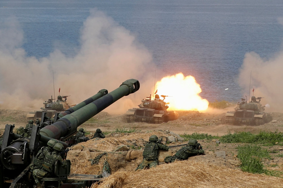Militæret i Taiwan under en øvelse i 2019, hvor det simuleres, at kinesiske styrker invaderer øen. (Arkivfoto)