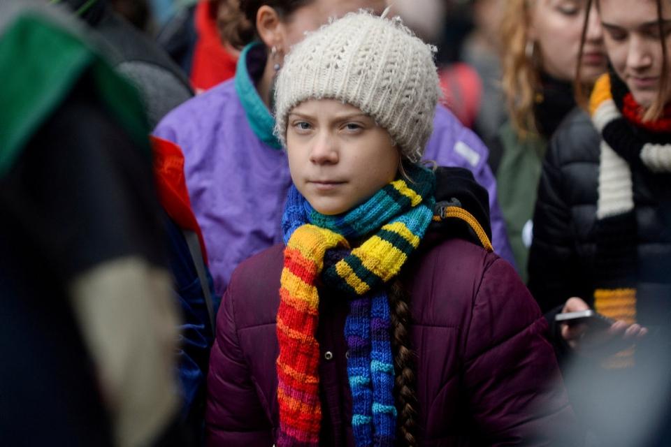Greta Thunberg ved en demonstration for klimaet i Bruxelles, Belgiens hovedstad, 6. marts. - Følg anbefalingerne fra eksperter og jeres lokale myndigheder og #StayAtHome (bliv hjemme, red.) for at mindske spredningen af virusset, skriver hun på sin Instagram-profil. (Arkivfoto).