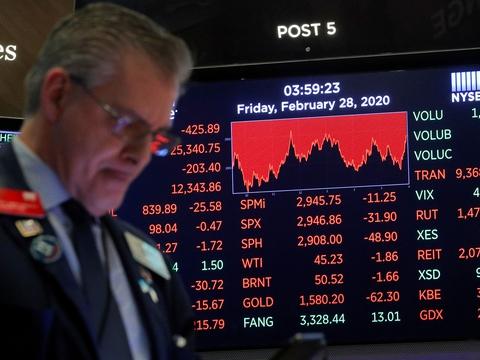 Globalt rasler aktiekurserne ned med en hast, som ikke ser magen til siden finanskrisen i 2008. Investorerne sælger ud af aktier af frygt for, at udbruddet af et  nyt coronavirus vil svække den økonomiske aktivitet. (Foto: Brendan Mcdermid/Reuters/Ritzau Scanpix)