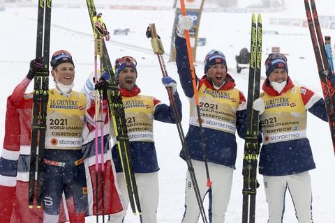 Norge sidder tungt på tronen i herrernes stafet ved VM.