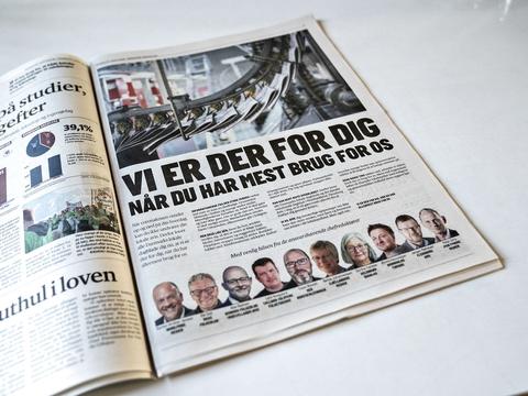 Vi er der, når du har mest brug for os, lyder det fra Danmarks lokale dagblade i en fælles annonce, her i Nordjyske på side 5, onsdag den 25. marts 2020. Krisen kradser hos de regionale aviser, som også mærker effekten af coronaudbruddet. Derfor er dagbladene i Danmarks ni lokale mediehuse og det danske mindretals avis i Nordtyskland, Flensborg Avis, gået sammen om at have en fælles annonce onsdag. (Foto: Henning Bagger/Ritzau Scanpix)