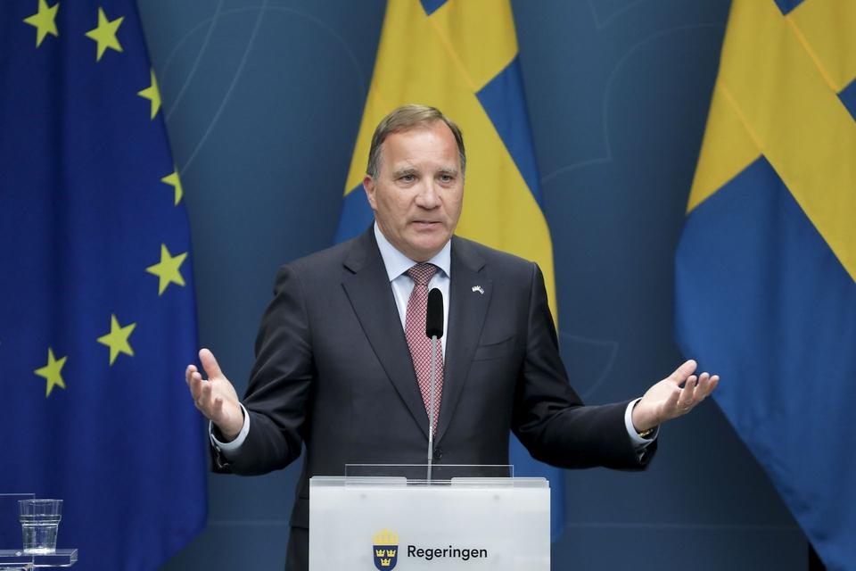 Stockholm 20200604 Statsminister Stefan Löfven håller pressträff om ändringar i reserestriktionerna. (Foto: 1037 Sören Andersson/TT/Ritzau Scanpix)