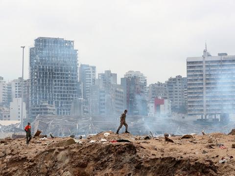 Eksplosionen i Beirut har efterladt havneområdet i ruiner. (Arkivfoto)