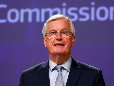 EU's brexitforhandler, Michel Barnier, under en pressekonference i Bruxelles fredag.