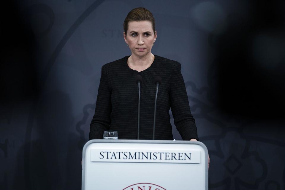 Statsminister Mette Frederiksen indkalder til Pressemøde i Statsministeriet om COVID-19 i Danmark onsdag den 11. marts. (Foto: Martin Sylvest/Ritzau Scanpix)