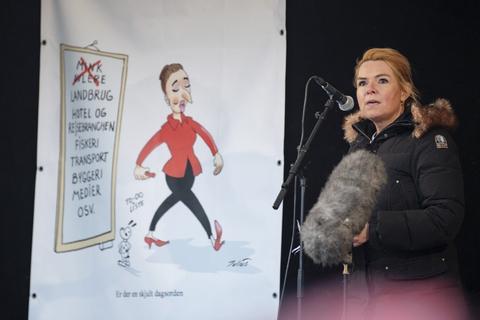 Venstres næstformand, Inger Støjberg, holdt lørdag tale i forbindelse med en demonstration i Aarhus.
