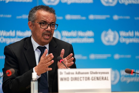 Tedros Adhanom Ghebreyesus, Director General of the World Health Organization (WHO) attends the signing of the memorandum of understanding between WHO and the WHO Foundation in Geneva, Switzerland, May 27, 2020. (Foto: Christopher Black/Reuters/Ritzau Scanpix)