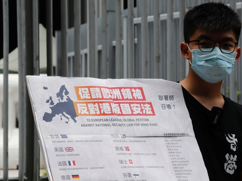 Joshua Wong er stor modstander af en ny national sikkerhedslov, der blev vedtaget af Beijing i maj. Kritikere frygter, at loven vil lægge voldsomme bånd på Hongkong. (Arkivfoto)